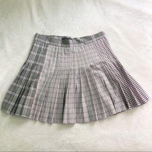 Pleated plaid school girl skirt